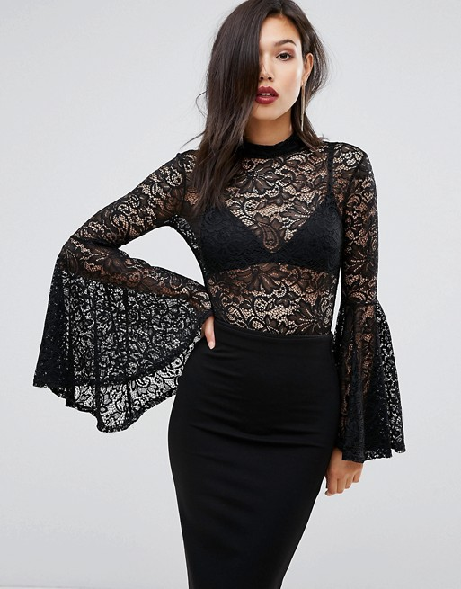 Morticia Adams Lace Flouncy Sleeved Bodysuit