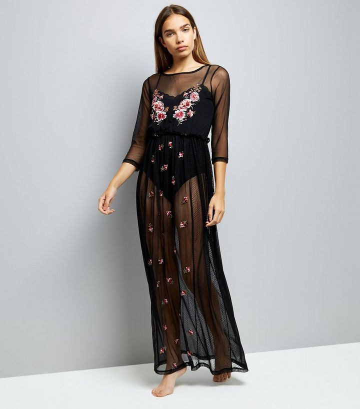 Black Embroidered Mesh Night Dress