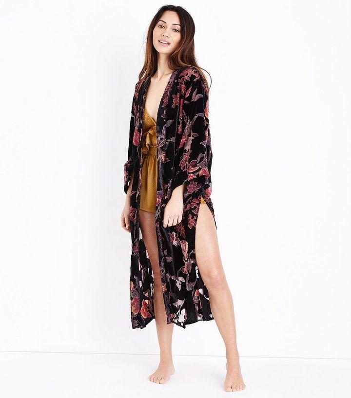 New Look Black Floral Devore Kimono