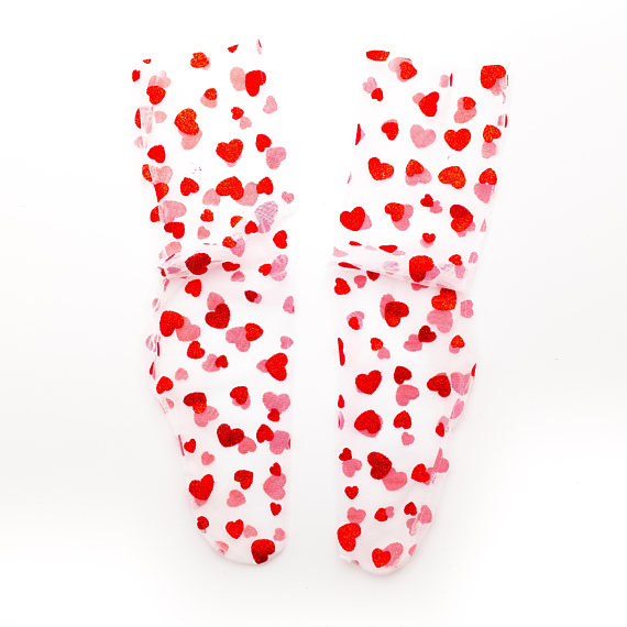Married and Bright Heart Tulle Socks