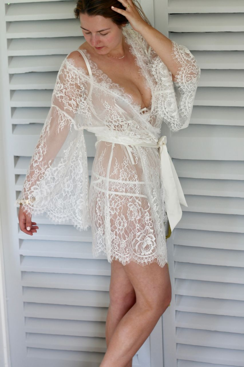 Figleaves Gigi Galloon ivory lace bridal robe review