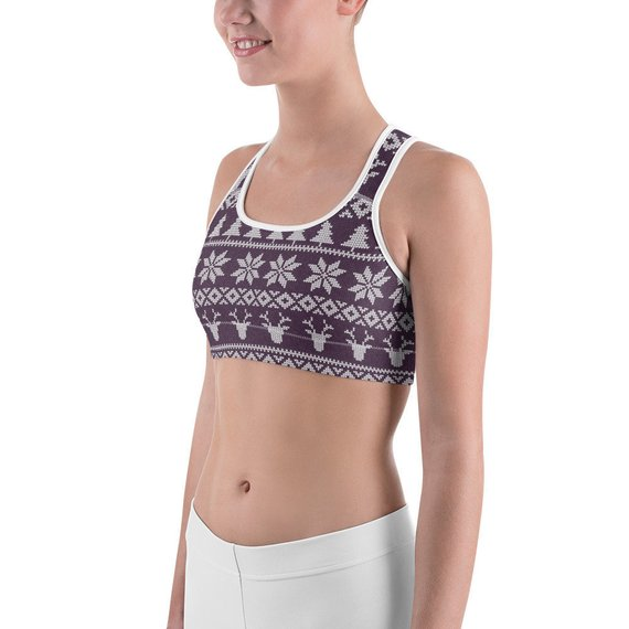 Winter Knit Fair Isle Printed Sports bra