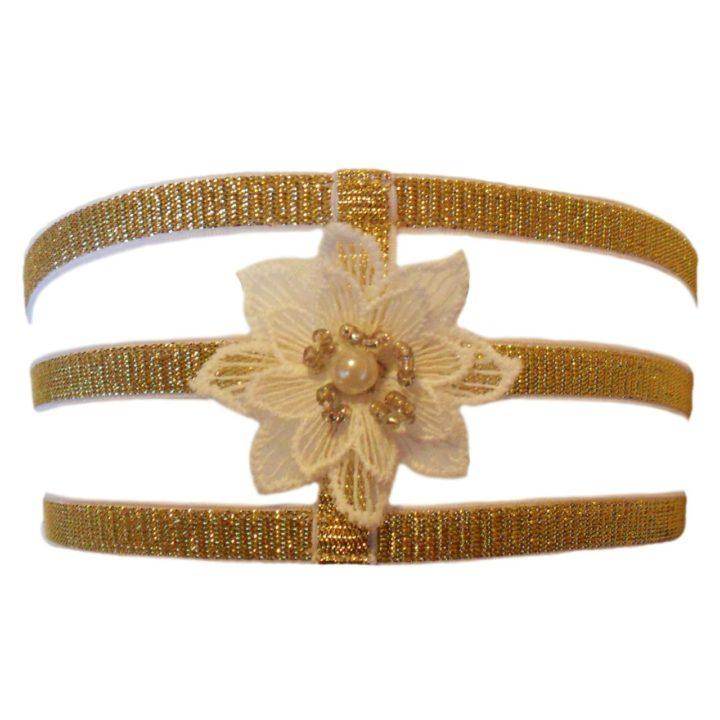 Esty Lingerie Estrella sparkly gold elastic garter
